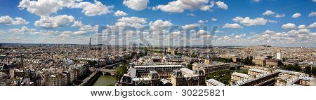 Panoramic And Detailed View Of Paris From Notre Dame