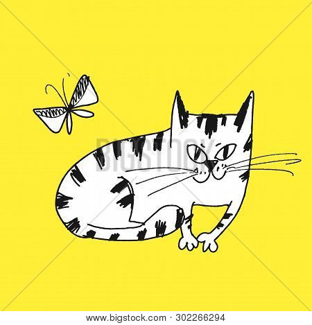 Sly Cat Hand Drawn Vector Illustration. Naughty Playful Kitten With Butterfly Isolated Character On