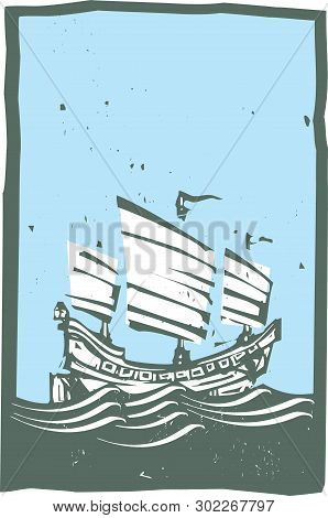 Woodcut Style Image Of Chinese Junk Sailing On The Ocean