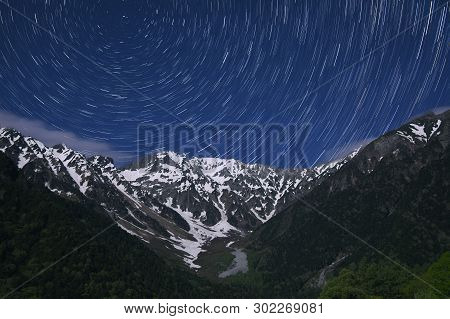 Star Trail On Hotaka Mountain Range, Kamikochi National Park, Kamikochi, Japan.