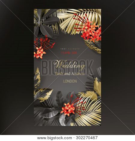 Tropical Black And Gold Leaves On Dark Background Vector Poster Beautiful Botanical Design With Gold