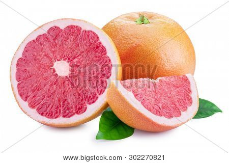 Grapefruit and grapefruit slices isolated on white background. File contains clipping path.