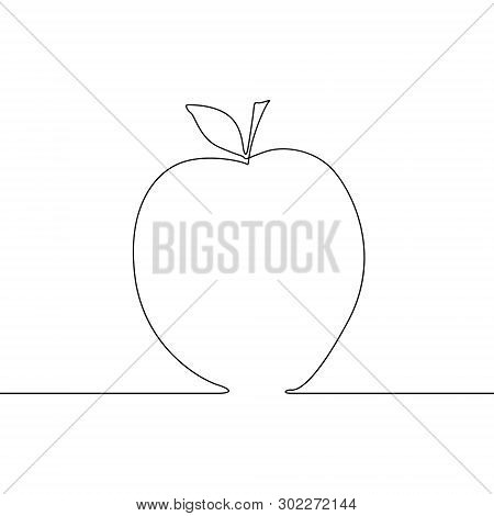 Continuous One Line Apple On White Background. Vector Illustration.