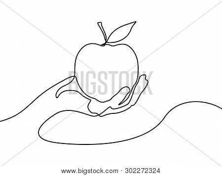 Continuous One Line Apple In Hand. Vector Illustration.