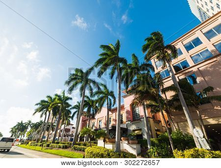 Palm Trees And Elegant Buildings In West Palm Beach. Florida, Usa