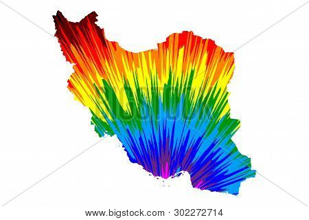 Iran - Map Is Designed Rainbow Abstract Colorful Pattern, Islamic Republic Of Iran (persia) Map Made