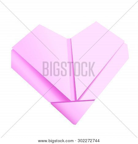 3d Paper Folded Heart. Illustration In Vector. With Gradients. Isolated.