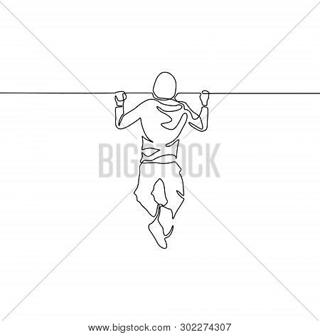 Continuous One Line Man Pulls Himself Up On The Horizontal Bar. Vector Illustration.