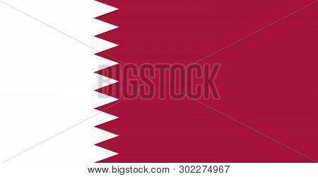The National Flag Of Qatar, Al-adaam. Maroon Color. Persian Gulf. Doha