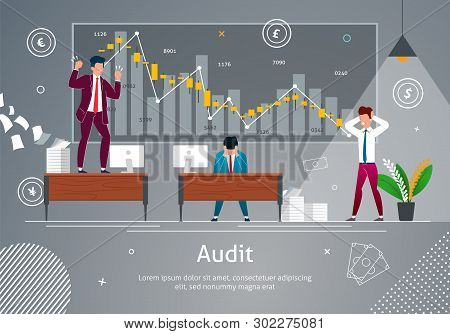 Audit Concept Vector Illustration. Angry And Annoyed Businessman At Work Office Banner. Stressed Wor