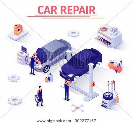 Banner Template For Car Repair Service. Team Of Masters, Mechanics, Diagnostician Man At Work In Gar
