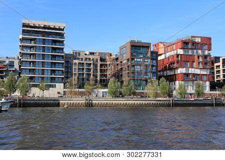 Hamburg Hafencity District - Modern Residential Development In Hamburg, Germany.