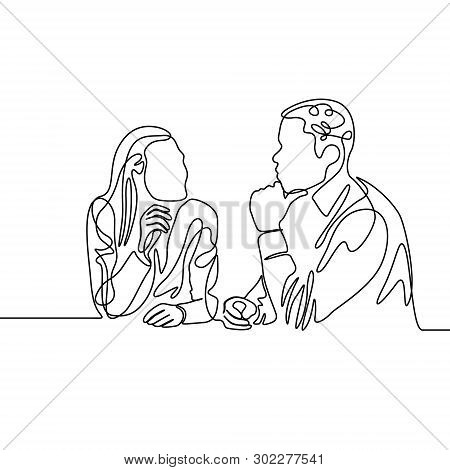 Continuous Line Co-workers Ponder Work. Vector Illustration.