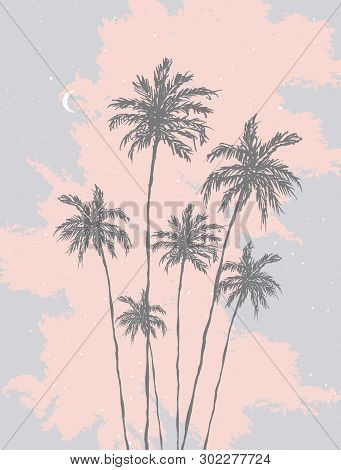 Retro Style Palm Trees Vector Illustration. Darl Gray Hand Drawn Palms Isolated On A Pink And Pale B