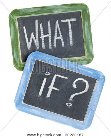 what if question - white chalk text on two vintage slate blackboards, isolated on white