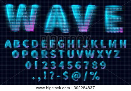 Futuristic Retrowave Font. Hud Hologram Letters, Numbers And Symbols, Synthwave And Retrowave Music