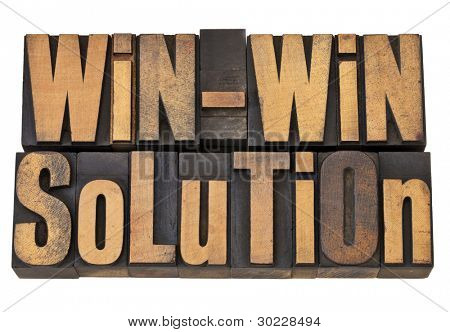 win-win solution - negotiation or conflict resolution concept - isolated words in vintage wood type