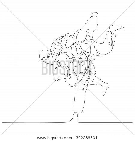 Continuous One Line Drawing Judoka Makes A Throw. Judo Theme. Vector Illustration.