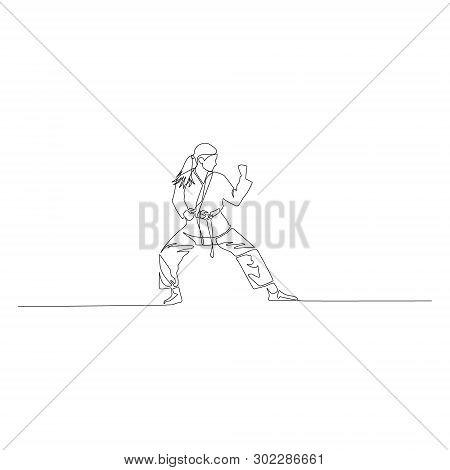 Karate Girl Standing Vector Photo Free Trial Bigstock