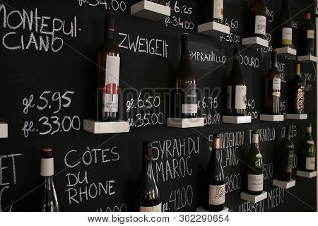 Utrecht, Netherlands - March 10, 2019: Wall With Winebottles That Are Being Sold In A Wine Bar