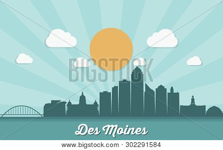 Des Moines Skyline - Iowa, United States Of America, Usa - Vector Illustration - Vector
