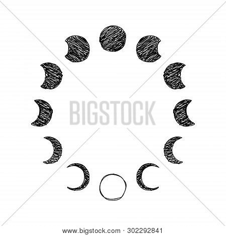 Phase Of The Moon Scribble Icon Set, Lunar Phase. Vector Illustration