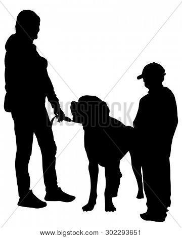 Family with big dog on white background