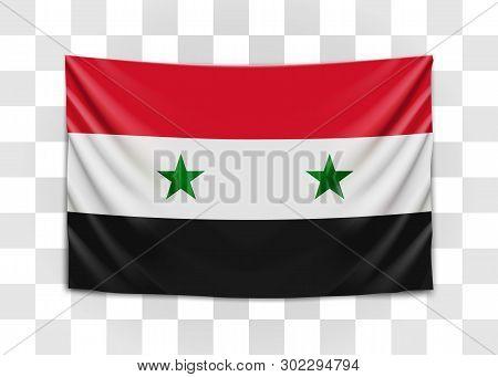 Hanging Flag Of Syria. Syrian Arab Republic. National Flag Concept.