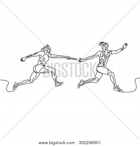Continuous One Line Relay Race, Runner Passes The Baton. Teamwork Concept.