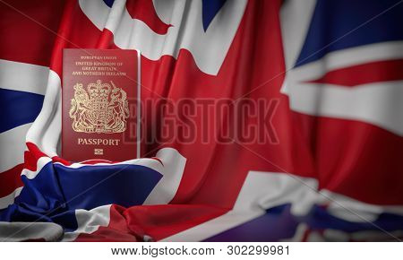 British passport on the flag of the UK United Kingdom. Getting a UK Great Britain passport,  naturalization and immigration concept. 3d illustration