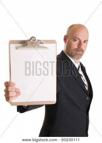 Fashion - Men - Businessman Holding Clipboard