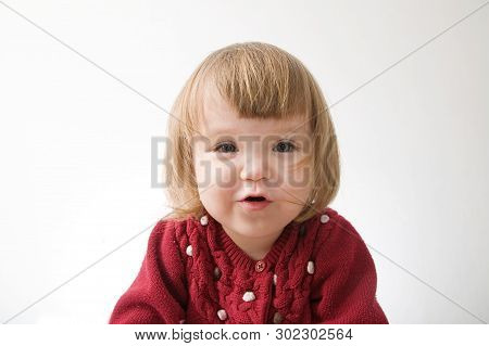 Little Girl Smiling Happy. Cute Caucasian Baby