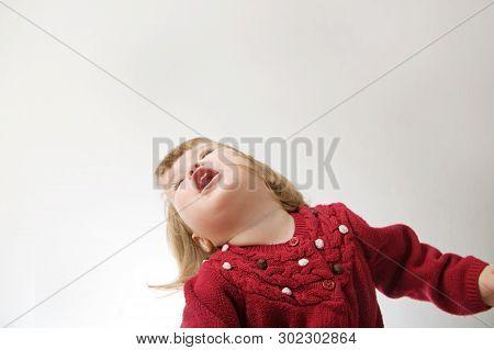 Toddler Girl Playing Emotionally Portrait Having Fun