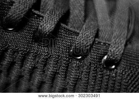 Closeup View Of Sport Shoe. Black Shoelaces Closeup.