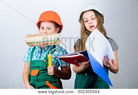 Future profession. Kids girls planning renovation. Children sisters run renovation their room. Amateur renovation. Sisters renovating home. Dreaming about new playroom. Home improvement activities poster