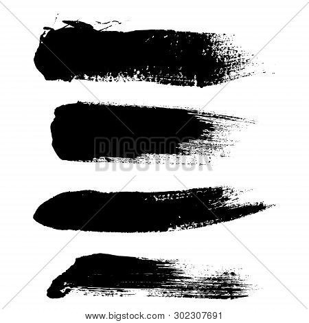 Hight Quality Vector Set Of Hand Drawn Brush Strokes, Stains For Backdrops. Vector