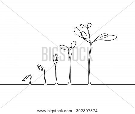Continuous One Line Plant Growth Process. Vector Illustration