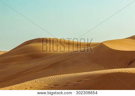 Sand Dunes Of The Desert Close Up. Dubai 2019