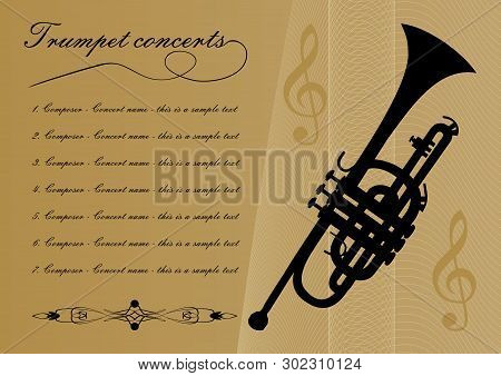 Trumpet Concerts Program Template With Black Trumpet Silhouette, Sample Text, Calligraphic Ornament