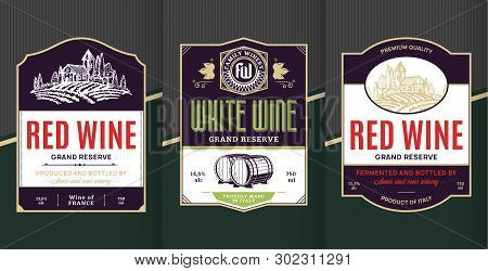 Vector Vintage Red And White Wine Labels