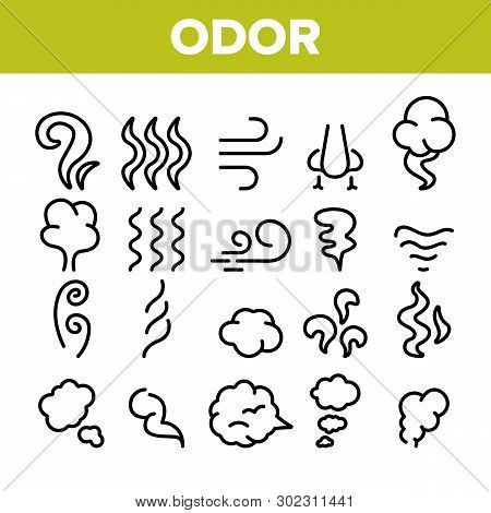 Odor, Smoke, Smell Vector Linear Icons Set. Odor, Hot Cooking Steam, Wind Outline Symbols Pack. Empt