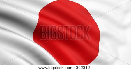 3d rendered and waving flag of japan poster