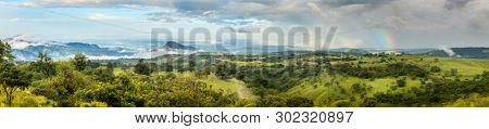 Panoramic view of scenic landscape near Rincon de la Vieja National Park in Costa Rica