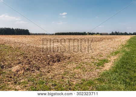 Big Fields In The Middle Of The German Countryside With Hills, Forests And Meadows
