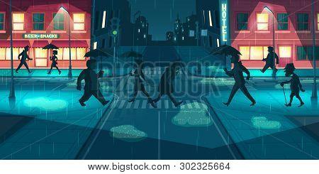 Rain In Night City Cartoon Vector. People With Umbrellas Walking Evening Street Illuminated Lamppost