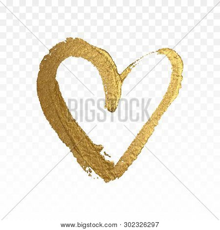 Gold Glitter Heart Isolated On White. Paint Brush Vector Texture