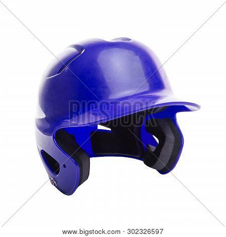 Blue Baseball Or Softball Batting Helmet On White Background