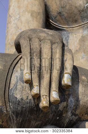 Long Fingers Of Giant Buddha At Ayuthaya, Sukothai Thailand