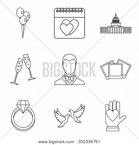 Festive Ceremony Icons Set. Outline Set Of 9 Festive Ceremony Icons For Web Isolated On White Backgr