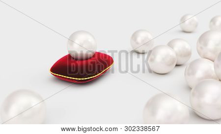 3d Rendering Of A Pearl On A Soft Red Velvet Pillow With A Gold Stroke. Beautiful Pearl, Expensive J